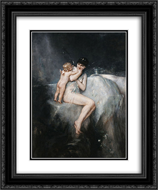 Nymth and Cupid 20x24 Black or Gold Ornate Framed and Double Matted Art Print by Nikolaos Gyzis