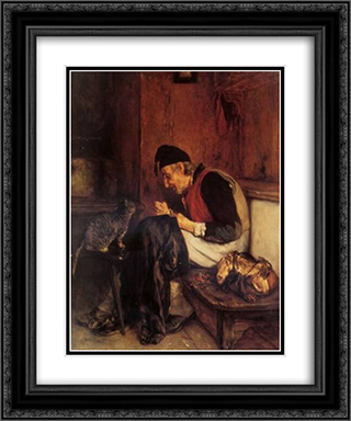 Old Man that sew 20x24 Black or Gold Ornate Framed and Double Matted Art Print by Nikolaos Gyzis