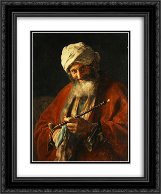 Oriental Man with a Pipe 20x24 Black or Gold Ornate Framed and Double Matted Art Print by Nikolaos Gyzis