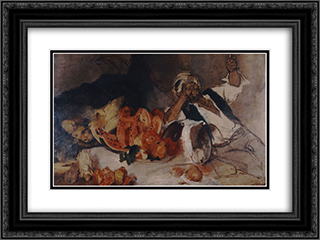 Oriental man with fruit 24x18 Black or Gold Ornate Framed and Double Matted Art Print by Nikolaos Gyzis