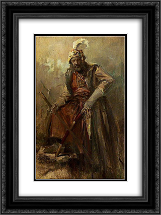 Oriental warrior 18x24 Black or Gold Ornate Framed and Double Matted Art Print by Nikolaos Gyzis