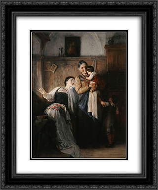 Peek-a-boo 20x24 Black or Gold Ornate Framed and Double Matted Art Print by Nikolaos Gyzis