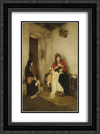 Step Mother 18x24 Black or Gold Ornate Framed and Double Matted Art Print by Nikolaos Gyzis
