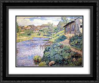 A Provincial Town on a River 24x20 Black or Gold Ornate Framed and Double Matted Art Print by Nikolay Bogdanov Belsky
