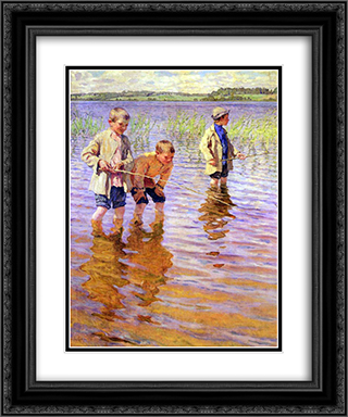 An Afternoon Fishing 20x24 Black or Gold Ornate Framed and Double Matted Art Print by Nikolay Bogdanov Belsky