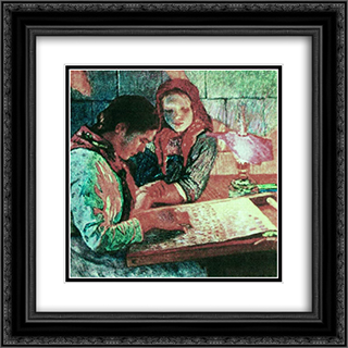 At work 20x20 Black or Gold Ornate Framed and Double Matted Art Print by Nikolay Bogdanov Belsky