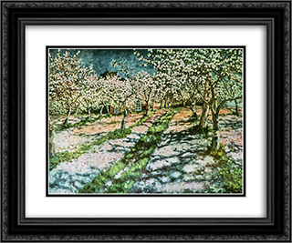Bloomy Apple Garden 24x20 Black or Gold Ornate Framed and Double Matted Art Print by Nikolay Bogdanov Belsky