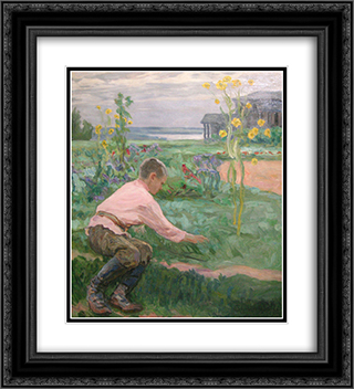 Boy on a Grass 20x22 Black or Gold Ornate Framed and Double Matted Art Print by Nikolay Bogdanov Belsky
