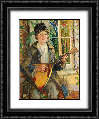 Boy with Balalaika 20x24 Black or Gold Ornate Framed and Double Matted Art Print by Nikolay Bogdanov Belsky