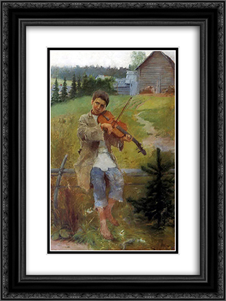 Boy with Violin 18x24 Black or Gold Ornate Framed and Double Matted Art Print by Nikolay Bogdanov Belsky