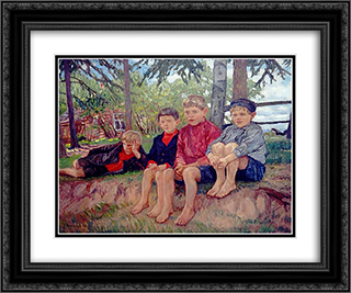 Boys 24x20 Black or Gold Ornate Framed and Double Matted Art Print by Nikolay Bogdanov Belsky