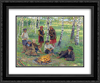 By the Campfire 24x20 Black or Gold Ornate Framed and Double Matted Art Print by Nikolay Bogdanov Belsky