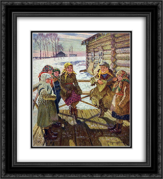 Celebration on a Steps 20x22 Black or Gold Ornate Framed and Double Matted Art Print by Nikolay Bogdanov Belsky