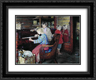 Children at the Piano 24x20 Black or Gold Ornate Framed and Double Matted Art Print by Nikolay Bogdanov Belsky