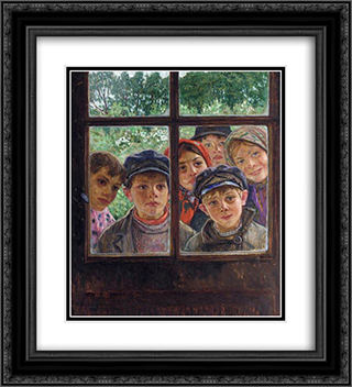 Children at the Window 20x22 Black or Gold Ornate Framed and Double Matted Art Print by Nikolay Bogdanov Belsky
