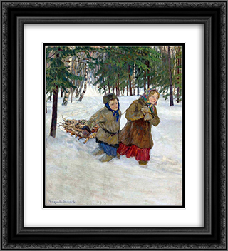 Children carrying the Wood in the Snow, Winter 20x22 Black or Gold Ornate Framed and Double Matted Art Print by Nikolay Bogdanov Belsky