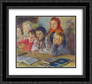 Children in a Class 22x20 Black or Gold Ornate Framed and Double Matted Art Print by Nikolay Bogdanov Belsky