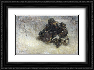 Children in Winter 24x18 Black or Gold Ornate Framed and Double Matted Art Print by Nikolay Bogdanov Belsky