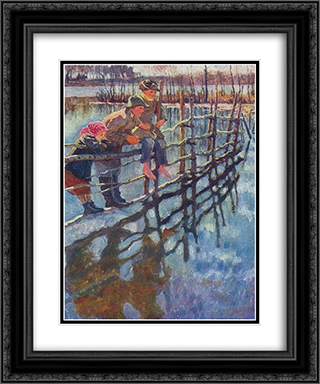 Children on a Fence 20x24 Black or Gold Ornate Framed and Double Matted Art Print by Nikolay Bogdanov Belsky