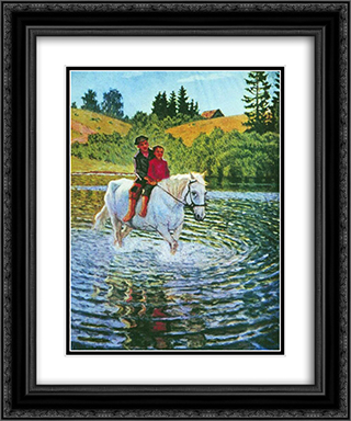 Children on a Horse 20x24 Black or Gold Ornate Framed and Double Matted Art Print by Nikolay Bogdanov Belsky