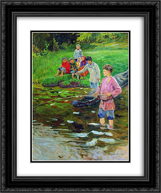 Children-Fishermen 20x24 Black or Gold Ornate Framed and Double Matted Art Print by Nikolay Bogdanov Belsky
