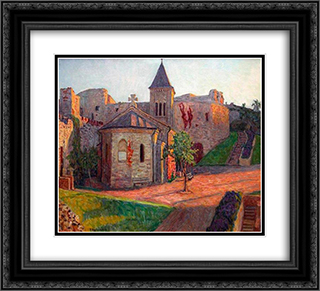 Church View 22x20 Black or Gold Ornate Framed and Double Matted Art Print by Nikolay Bogdanov Belsky