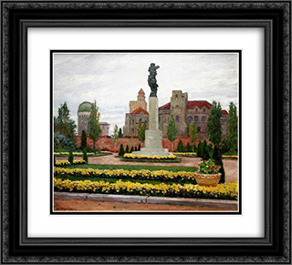 Cityscape 22x20 Black or Gold Ornate Framed and Double Matted Art Print by Nikolay Bogdanov Belsky