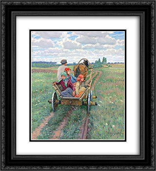 Coming after the daily work 20x22 Black or Gold Ornate Framed and Double Matted Art Print by Nikolay Bogdanov Belsky