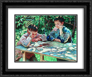 Connoisseurs of books (Knowledge is Power) 24x20 Black or Gold Ornate Framed and Double Matted Art Print by Nikolay Bogdanov Belsky
