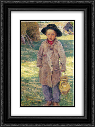 Country Boy 18x24 Black or Gold Ornate Framed and Double Matted Art Print by Nikolay Bogdanov Belsky