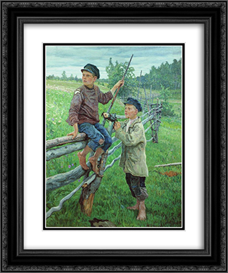 Country Boys 20x24 Black or Gold Ornate Framed and Double Matted Art Print by Nikolay Bogdanov Belsky