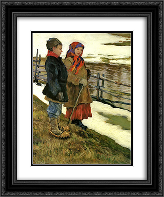Country Children 20x24 Black or Gold Ornate Framed and Double Matted Art Print by Nikolay Bogdanov Belsky