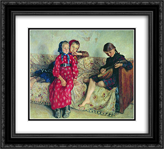 Country Friends 22x20 Black or Gold Ornate Framed and Double Matted Art Print by Nikolay Bogdanov Belsky