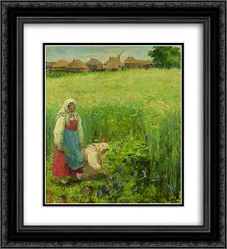 Country Girls 20x22 Black or Gold Ornate Framed and Double Matted Art Print by Nikolay Bogdanov Belsky