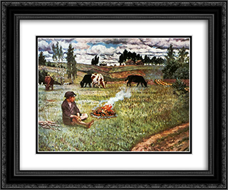 Cowboy 24x20 Black or Gold Ornate Framed and Double Matted Art Print by Nikolay Bogdanov Belsky