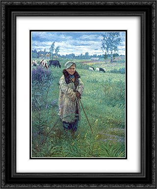 Cowboy Proshka 20x24 Black or Gold Ornate Framed and Double Matted Art Print by Nikolay Bogdanov Belsky