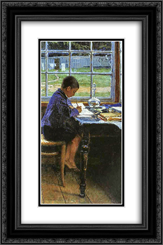 Doing the Lessons 16x24 Black or Gold Ornate Framed and Double Matted Art Print by Nikolay Bogdanov Belsky