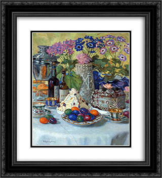 Easter Table 20x22 Black or Gold Ornate Framed and Double Matted Art Print by Nikolay Bogdanov Belsky