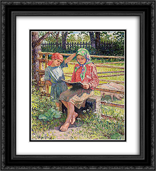 First Lesson 20x22 Black or Gold Ornate Framed and Double Matted Art Print by Nikolay Bogdanov Belsky
