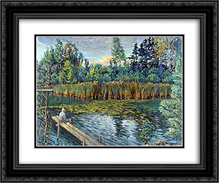 Fisherman 24x20 Black or Gold Ornate Framed and Double Matted Art Print by Nikolay Bogdanov Belsky