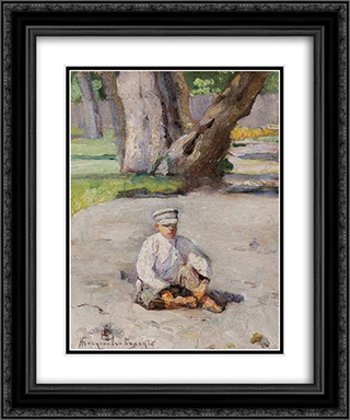 Garson sitting in front of a tree 20x24 Black or Gold Ornate Framed and Double Matted Art Print by Nikolay Bogdanov Belsky