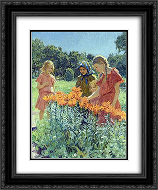 Gathering the Flowers 20x24 Black or Gold Ornate Framed and Double Matted Art Print by Nikolay Bogdanov Belsky