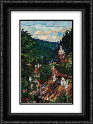 Agapia Valley 18x24 Black or Gold Ornate Framed and Double Matted Art Print by Octav Bancila