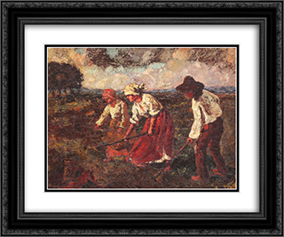 Agricultural Labour 24x20 Black or Gold Ornate Framed and Double Matted Art Print by Octav Bancila