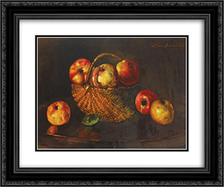 Basket with Apples 24x20 Black or Gold Ornate Framed and Double Matted Art Print by Octav Bancila