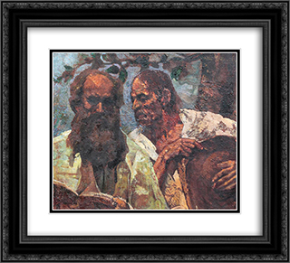 Confession of the Peasant (Composition with Self-Portrait) 22x20 Black or Gold Ornate Framed and Double Matted Art Print by Octav Bancila