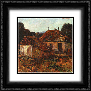 Countryside Houses 20x20 Black or Gold Ornate Framed and Double Matted Art Print by Octav Bancila