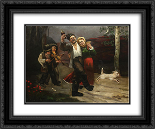 End of Leave 24x20 Black or Gold Ornate Framed and Double Matted Art Print by Octav Bancila