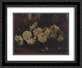 Flowers 24x20 Black or Gold Ornate Framed and Double Matted Art Print by Octav Bancila