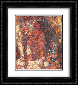 Gipsy Woman 20x22 Black or Gold Ornate Framed and Double Matted Art Print by Octav Bancila